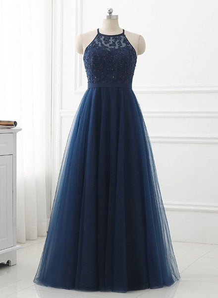navy blue prom dress long