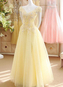 Light Yellow Tulle Cap Sleeves with Lace Applique Prom Dress, Yellow Long Evening Dress