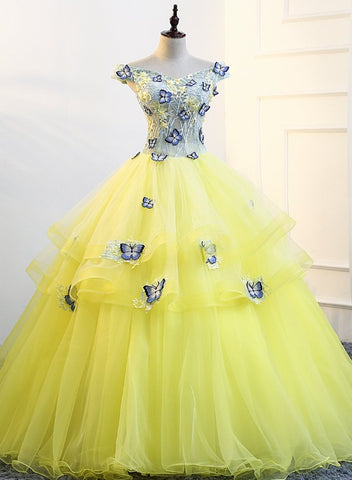 Beautiful Yellow Tulle Cap Sleeves Prom Dress, Ball Gown Sweet 16 Dress