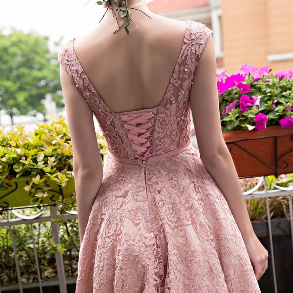 Cute Pink Tea Length Vintage Style Party Dress, Lace Bridesmaid Dress