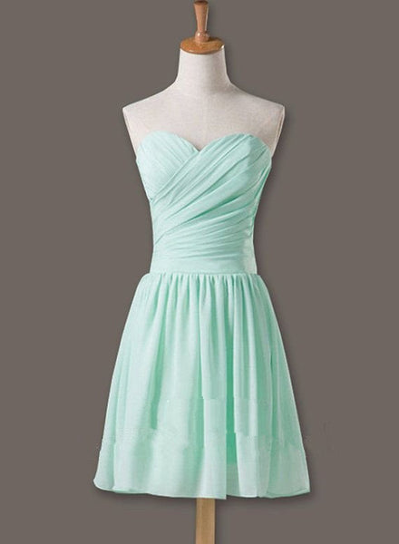 Simple Chiffon Mint Green Short Bridesmaid Dress 2019, Lovely Knee Length Formal Dress