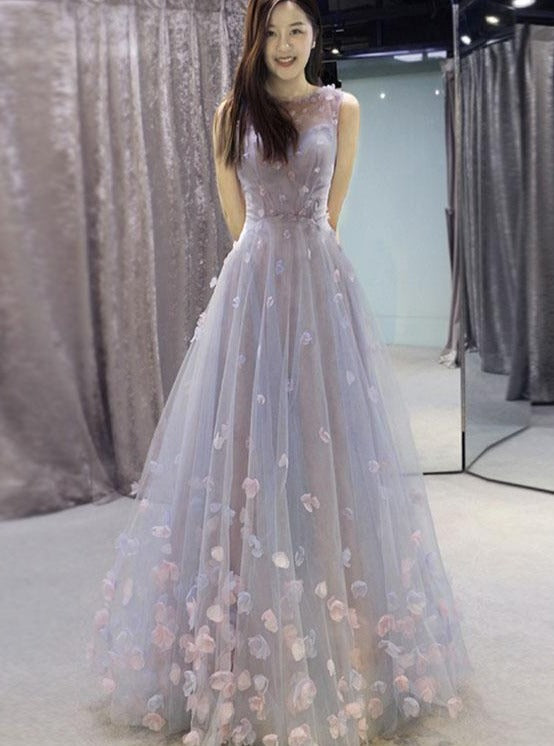 Beautiful Tulle 3D Lace Applique Long Prom Dress, A-line Tulle Wedding Party Dress