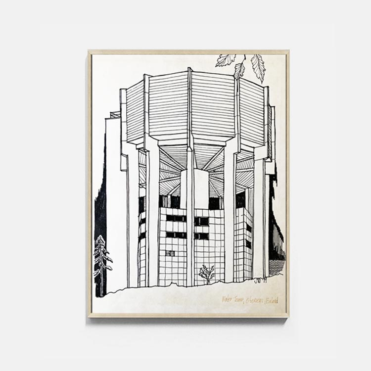Water Tower Architectural Print