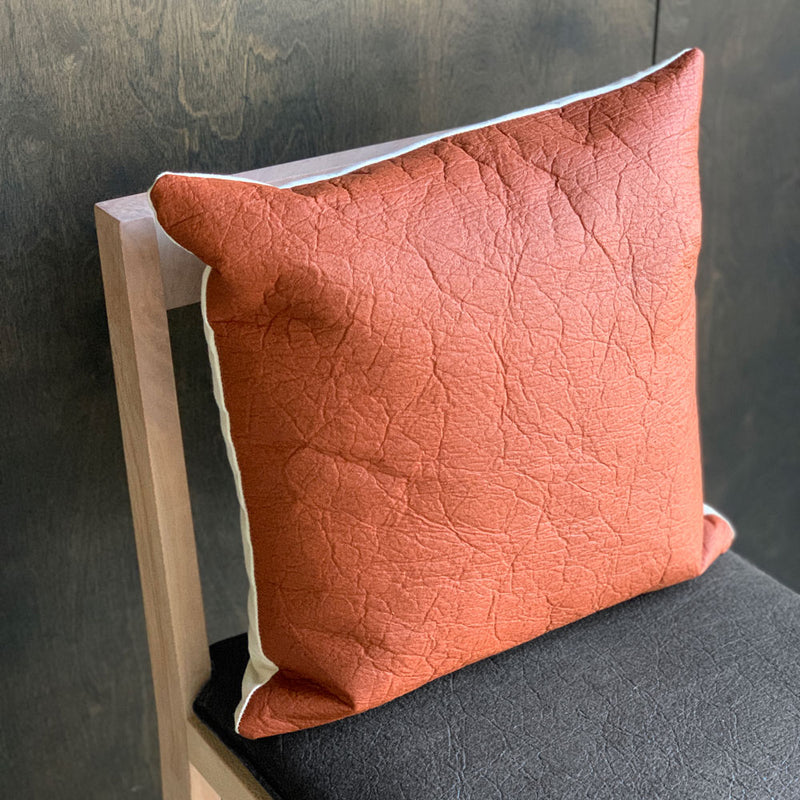 Cocoa Vegan Leather Pillow Cover