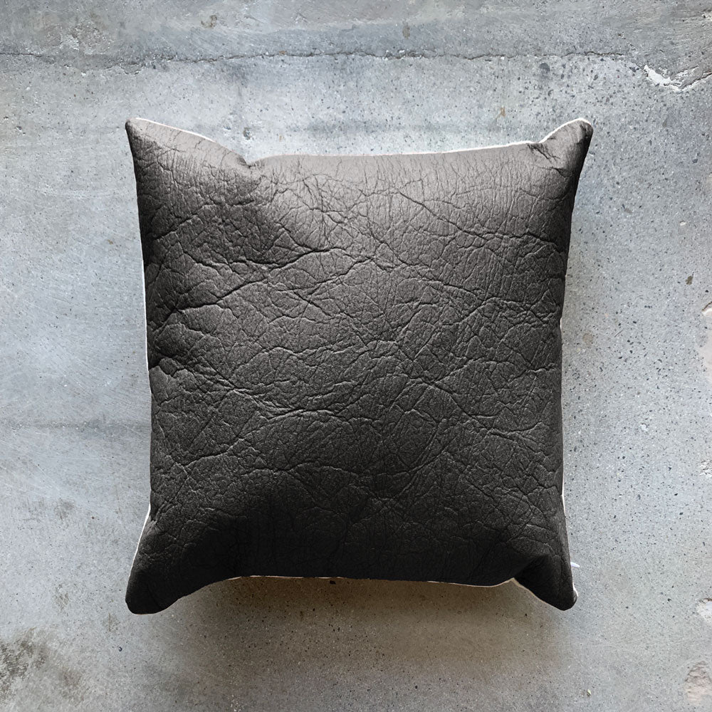 Charcoal Vegan Leather Pillow Cover