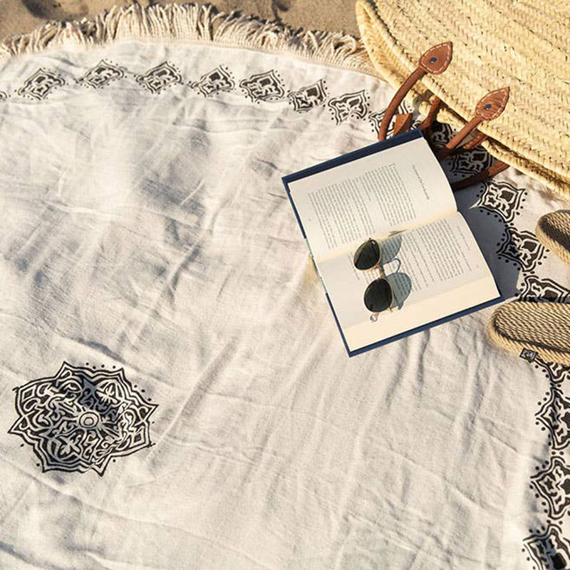 Black Block Print Round Beach Blanket