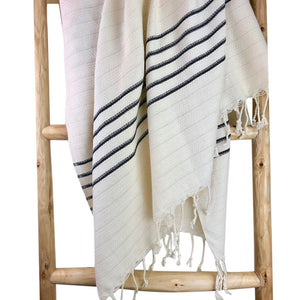 Black and White Stripe Turkish Towel