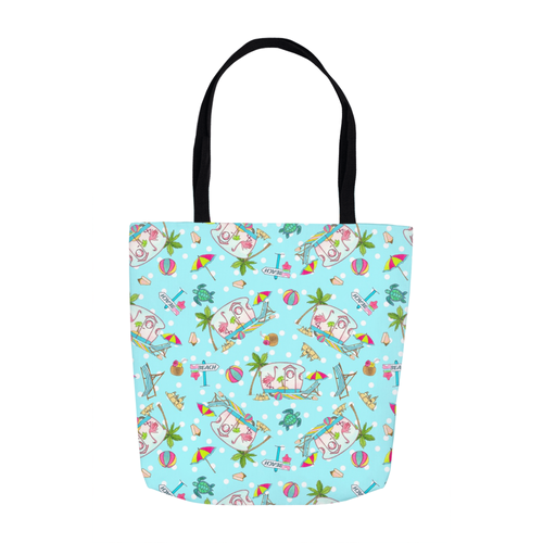 RV Happy Flamingo Beach Tote Bags