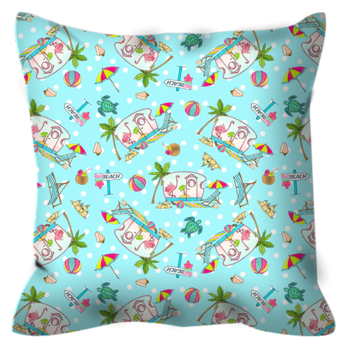 RV Happy Flamingo Beach Outdoor Pillows
