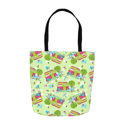 RV Happy Glamping Up Tote Bags