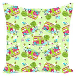 RV Happy Glamping Up Throw Pillows
