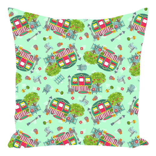 RV Happy Cute Cottage Throw Pillows