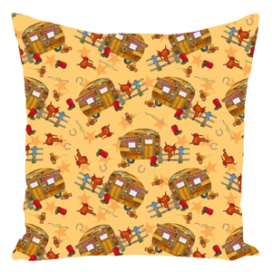 RV Happy Go Cowboy Throw Pillow