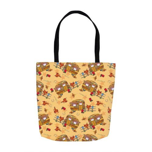 RV Happy Go Cowboy Tote Bags