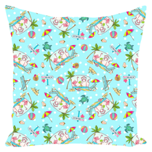 RV Happy Flamingo Beach Throw Pillows