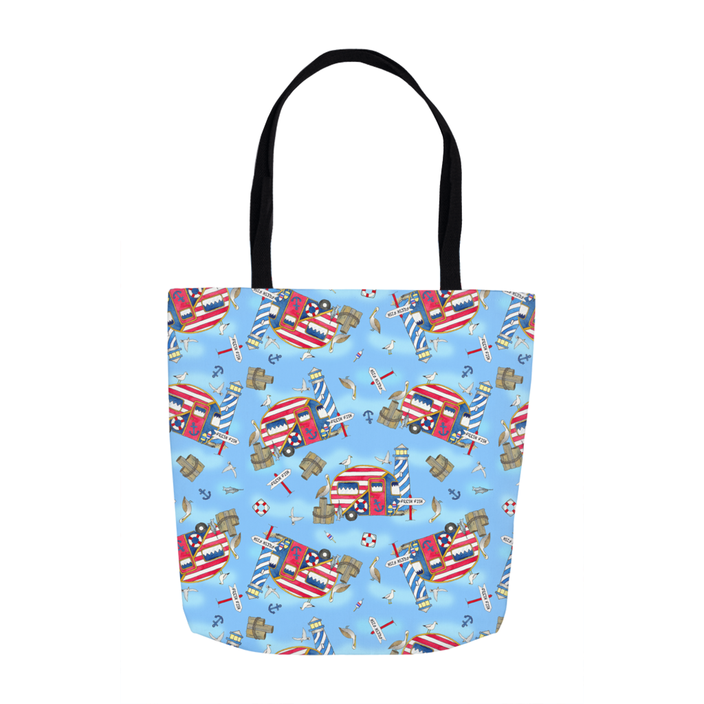RV Happy Nautical Dockside Tote Bags