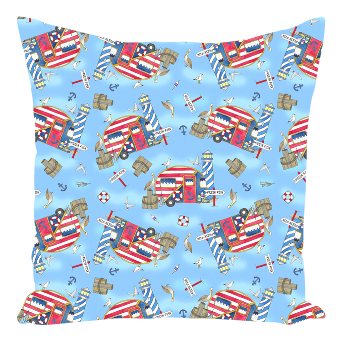 RV Happy Nautical Dockside Throw Pillows