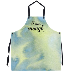 I AM ENOUGH Apron - Blue Lime Watercolour