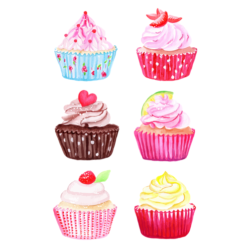 Hey Cupcake Kiss Cut Stickers - Six Designs