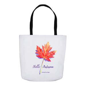 Hello Autumn Maple Leaf Tote Bags