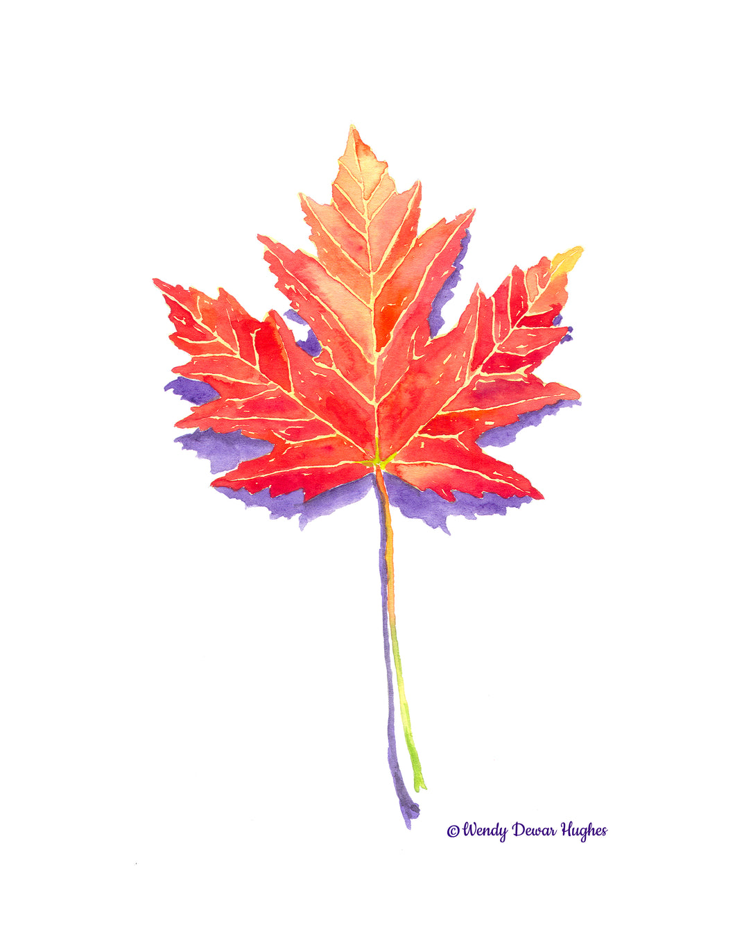 Hello Autumn Maple Leaf Printable Watercolour Painting