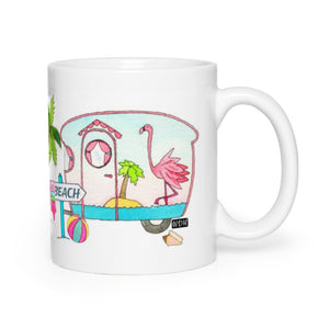 RV Happy Watercolour  Mug - Flamingo Beach