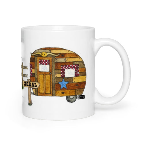 RV Happy Watercolor Mug - Go Cowboy