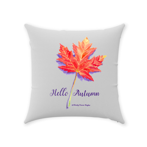 Hello Autumn Maple Leaf Throw Pillows