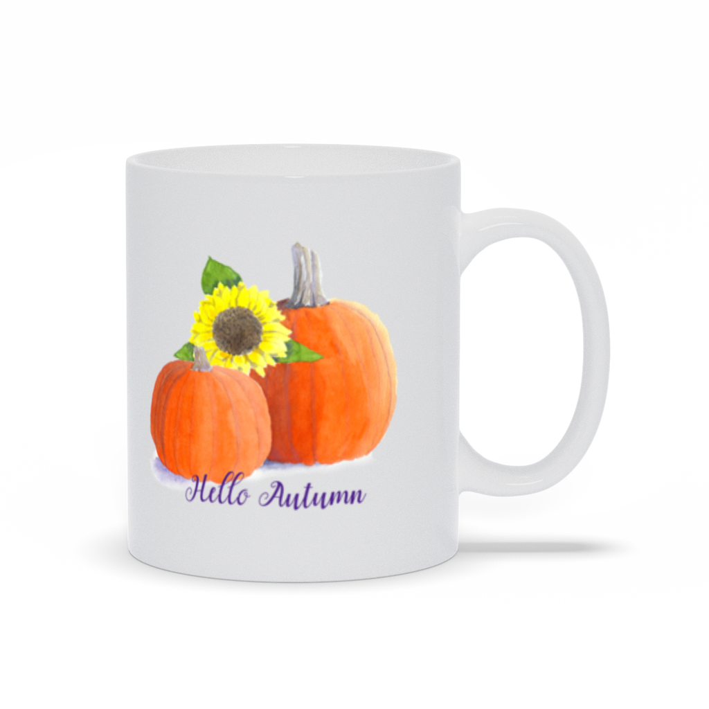 Hello Autumn Pumpkin Sunflower Coffee Mugs