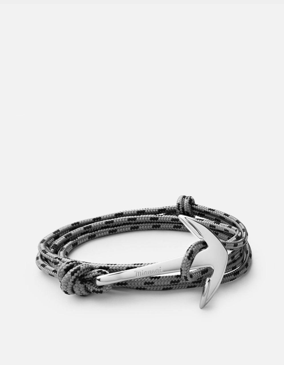 Anchor on Rope bracelet, Polished Silver, Concrete