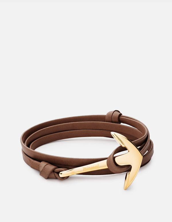 Anchor on Leather Bracelet, Gold Plated, Brown