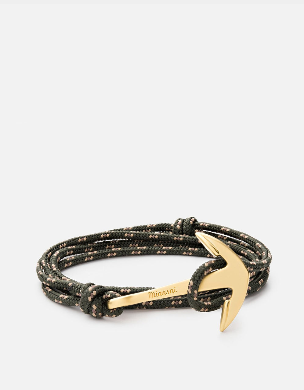 Anchor on Rope Bracelet, Brass, Hunter Green