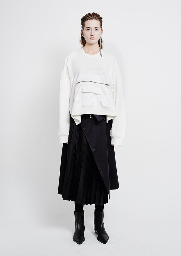 Trenchcoat Detail Wrap Pleats Black Skirt