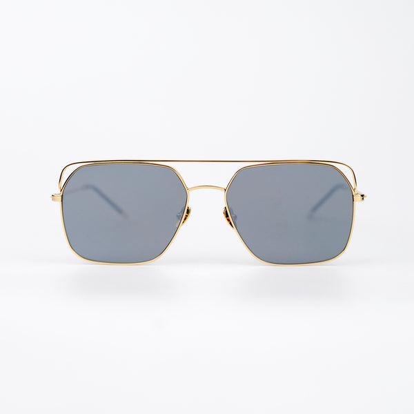 Square Gold-tone Metal Frame Sunglasses with Gray Lenses
