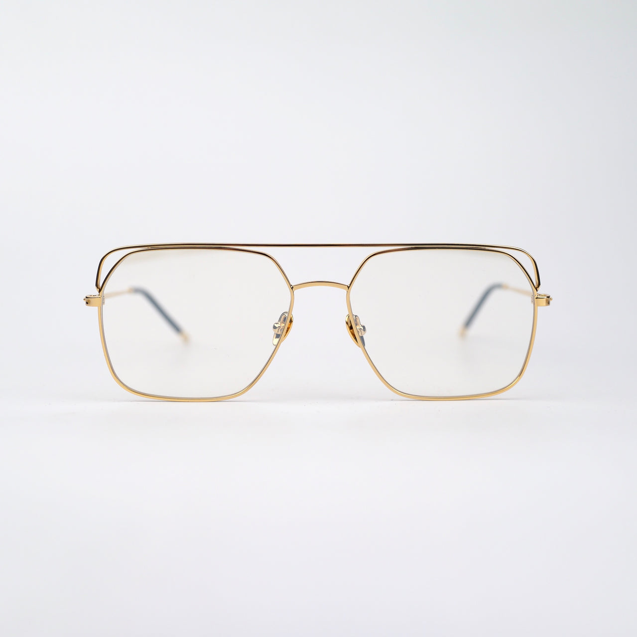 Square Gold-tone Metal Frame Optical Glasses