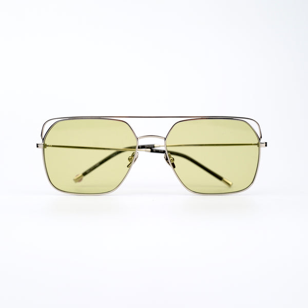 Square Silver-tone Metal Frame Sunglasses with Olive Green Lenses