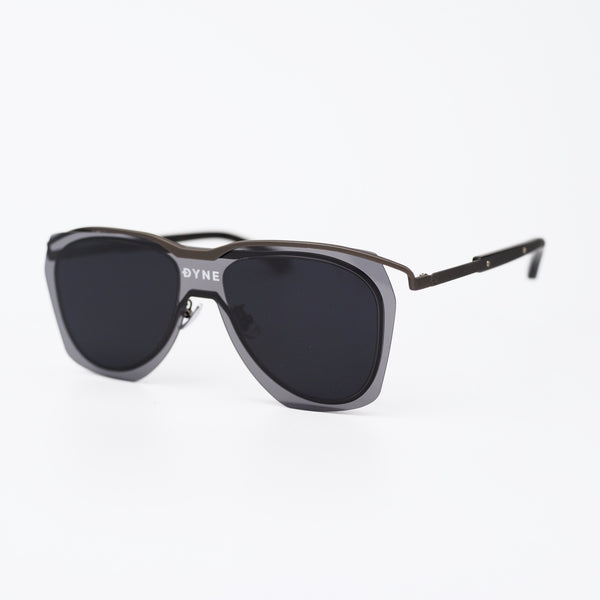 Matt Gray Coated Metal Frame Sunglasses with Black Layered Lens