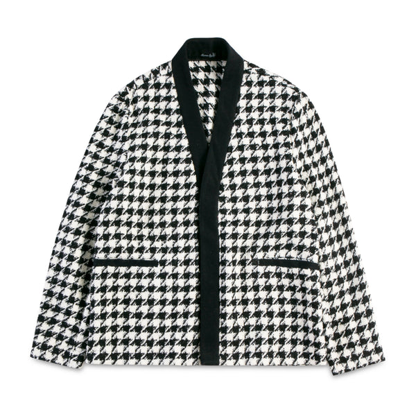 Houndstooth Cardigan with Cashmere Edge