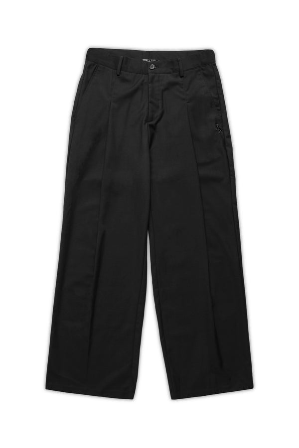 Smart Tapered Wide-Leg Pants - Black