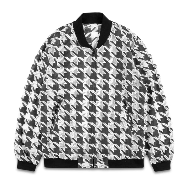 Transparent Houndstooth Bomber Jacket