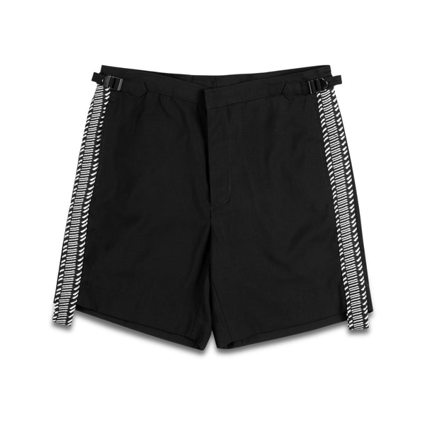 Black Smart Shorts with Side Stripe
