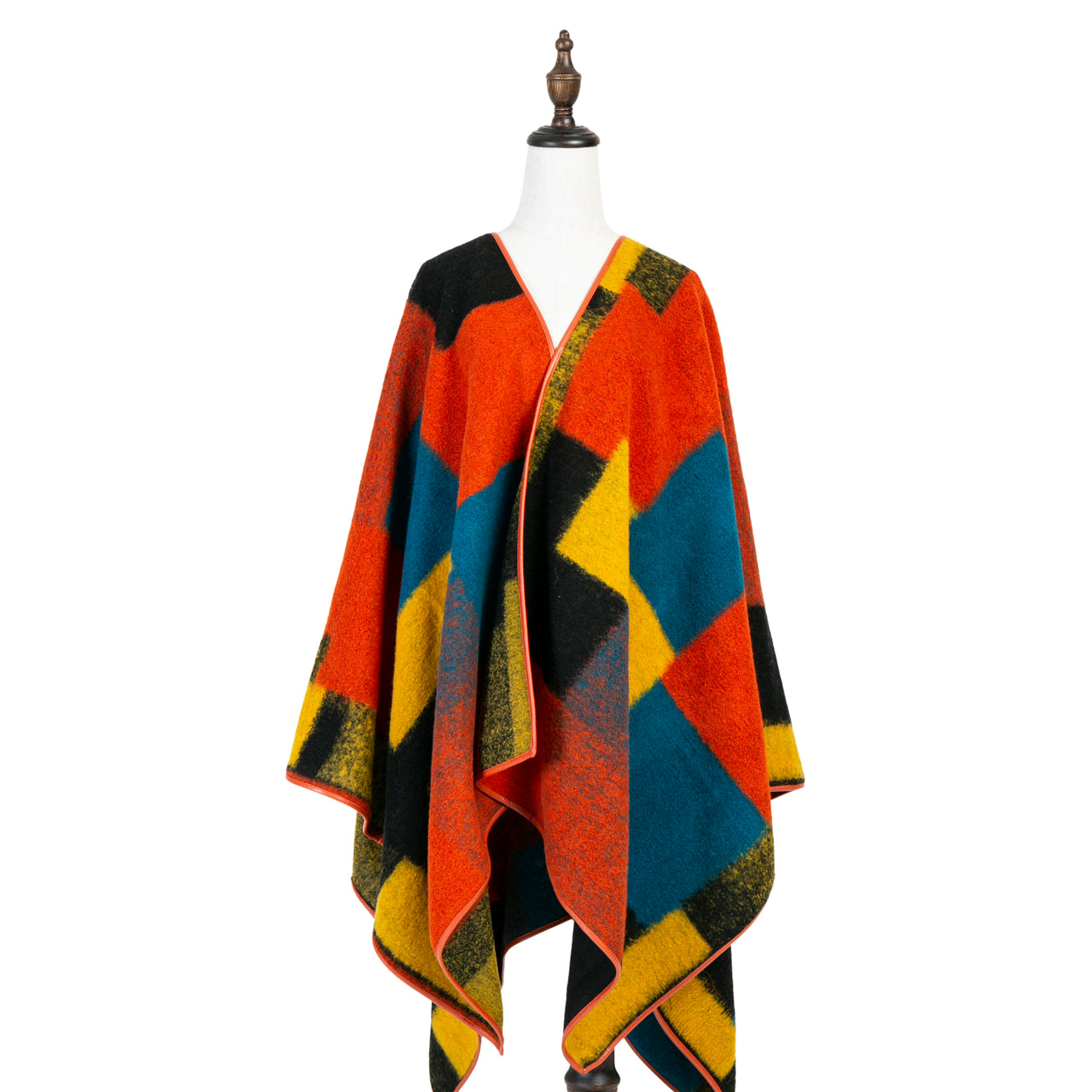 Square Cape with Leather Edge
