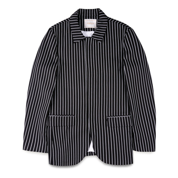 Jianfute Black and White Striped Blazer