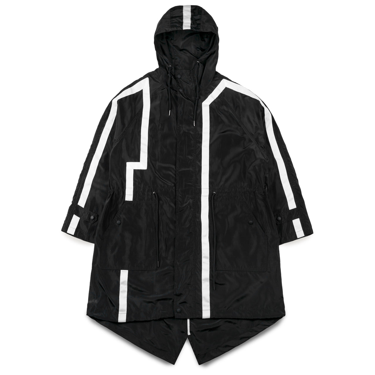 Jianfute Long Hooded Jacket with White Strap