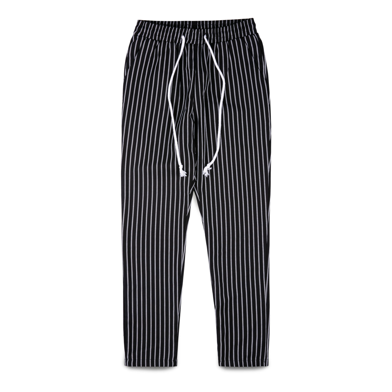 Jianfute Black & White Striped Pants