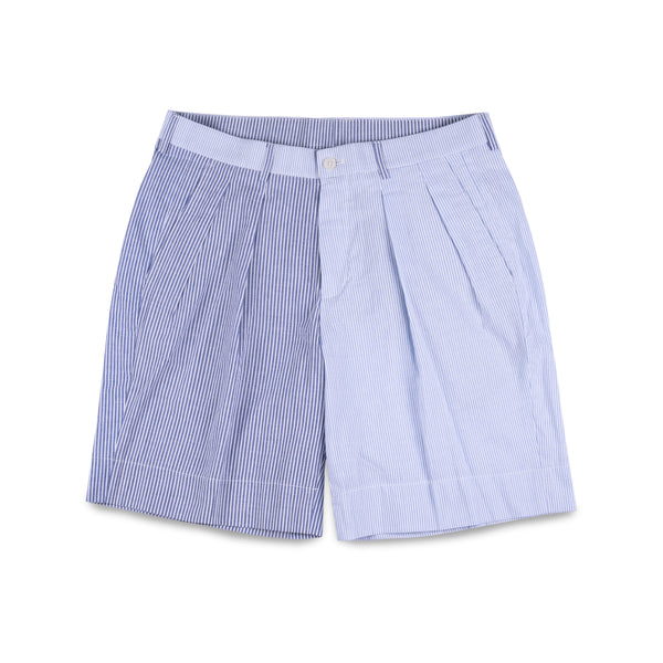 Jean Blue & Light Blue Striped Shorts