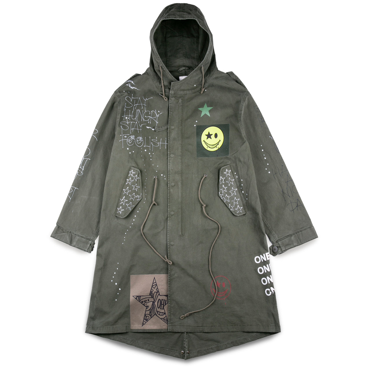 New Studio Graffiti Print Hooded Parka
