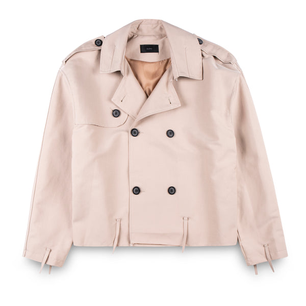 Motto Short Trench Coat with Raw Finishing