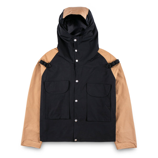 Reddish Brown Tobacco/ Black Windbreaker