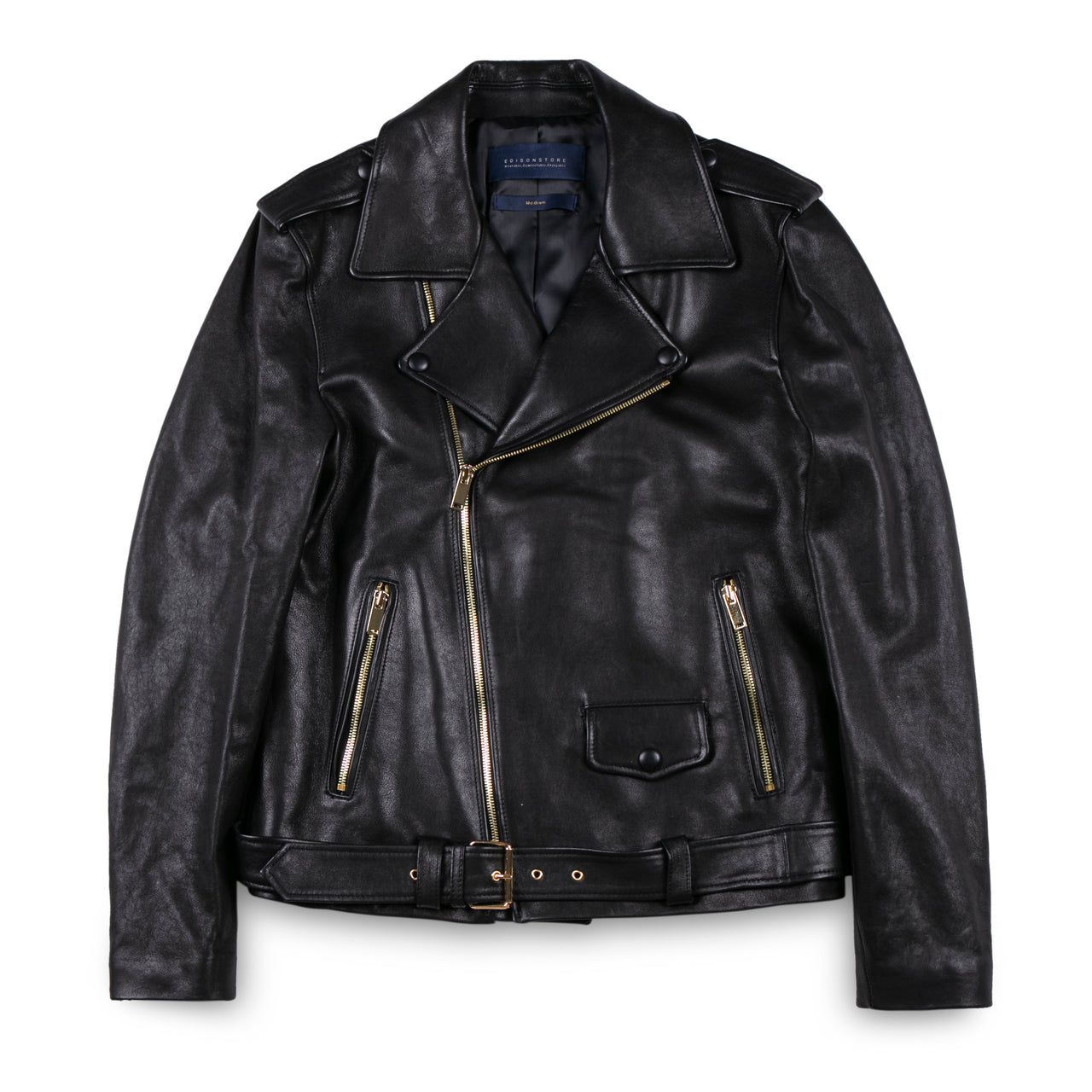 Edison Store Leather Biker Jacket with Black Leather Button